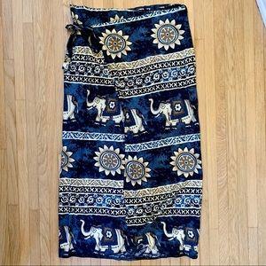 Elephant Print Maxi Wrap Beach Skirt